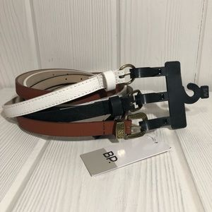 BP 3 Thin Belt Set White Black Brown S/M NWT New